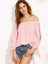 Women's Going out Sweet Popular All Match Shirt Solid Off Shoulder Long Sleeve Pink