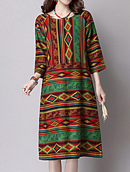 Women's Casual/Daily Vintage Loose Dress,Print Round Neck Midi ¾ Sleeve Green Linen Fall