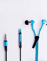 Zipper 3.5mm In-Ear Earbuds Earphone Headset Headphone For iPhone Samsung
