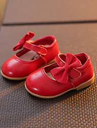Girl's Flats Spring Summer Fall Leather Casual Flat Heel Bowknot Magic Tape Pink Red White Other