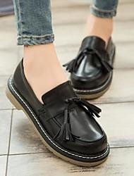 Для женщин Обувь Дерматин Осень Удобная обувь Мокасины и Свитер На толстом каблуке Блочная пятка Круглый носок С С кисточками Назначение