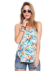 Mulheres Malha Íntima Praia Moda de Rua Verão,Floral Azul Poliéster Com Alças Sem Manga Opaca