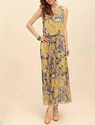 Women's Beach Swing Dress,Print Round Neck Maxi Sleeveless Pink / Yellow Spring / Summer