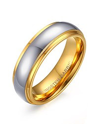 Men's Fashion Simple Tungsten Steel High Polished IP Gold Plating Couple Rings(White)(1Pc)