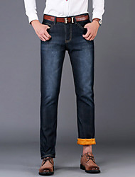 Men's Solid Casual / Work JeansCotton / Polyester / Spandex Blue WSL-6699