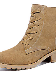 Women's Boots Spring / Fall / Winter Cowboy / Western Boots Suede Athletic / Casual Chunky Heel Black / Beige