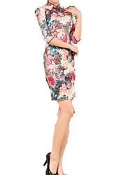 Lolita classica e tradizionale Gonna Maniche a 3/4 Corto Rosso Lolita Dress Seta