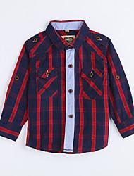 Chemise Boy Pied-de-poule Décontracté / Quotidien Coton Automne Rouge