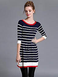 Women's Going out Street chic A Line DressStriped Round Neck Mini  Sleeve Blue Cotton Fall Mid Rise Micro-elastic Medium