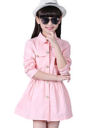 Girl's Casual/Daily Print DressCotton Fall Green / Pink
