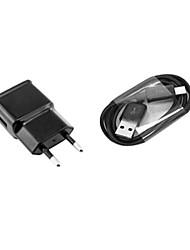 cargador de pared enchufe de CA de la UE con 100cm cable micro usb para samsung s6 / s4 / s3 / s2 y otros