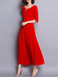 Mulheres Bainha Vestido,Casual / Tamanhos Grandes Simples Sólido Decote Redondo Longo Meia Manga Vermelho / Preto Algodão / Poliéster