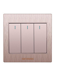 Three Open Double Control 3D Gold Wall Switch