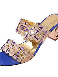 Women's Sandals Summer Comfort PU Dress Chunky Heel Crystal / Crystal Heel Black / Blue / Royal Blue Others