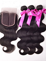 Body Brazilian Virgin Hair With Closure Body Wave Unprocessed Human Hair 3 Bundles With Lace Closure