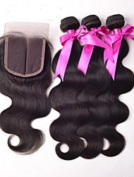 Trame cheveux avec fermeture Cheveux Brésiliens Droit 4 Pièces tissages de cheveux