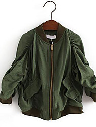 Girl's Casual/Daily Solid Jacket & Coat,Cotton Spring / Fall Green