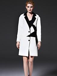 mulheres frmz de sair médio rua chique bloco coatcolor entalhe lapela manga longa queda branco de algodão / poliéster / nylon