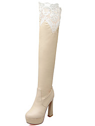 Women's Shoes Chunky Heel Round Toe Platform Lace Over The Knee Boot More Color Available
