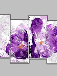 4 Panels Purple Color Floral Paintings Flower Wall Art Home Decor For Living Room/Bedroom/Office/Coffie Shop