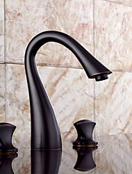 Antique Vessel Sensor with Ceramic Valve Two Handles Three Holes for Oil-rubbed Bronze , Bathroom Sink Faucet