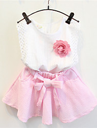 Girl's Casual/Daily Striped Clothing SetCotton Summer Pink