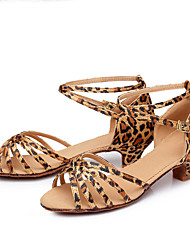Sapatos de Dança(Preto / Marrom / Leopardo) -Infantil-Não Personalizável-Latina