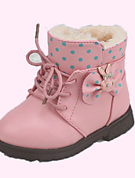 Girl's Boots Fall Winter Fashion Boots PU Casual Flat Heel Bowknot Sparkling Glitter Pink Red Coral Walking