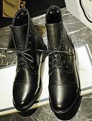 Черный-Женский-Для прогулок-Кожа-На плоской подошве-Военные ботинки-Ботинки