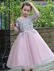 Ball Gown Ankle-length Flower Girl Dress - Lace / Tulle 3/4 Length Sleeve Jewel with Beading / Sash / Ribbon
