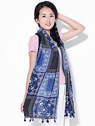National Wind Spring And Summer Cotton Blue Cashew Flowers Printed Scarf Fringed Beach Towel Sunscreen Scarves