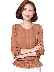 Feminino Blusa Happy-Hour / Casual / Tamanhos Grandes Simples / Moda de Rua Primavera / Outono,Sólido Vermelho / Marrom PoliésterDecote