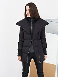 с + произвести впечатление сплошного черного вниз женщин coatsimple стоять длинный рукав