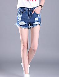 Pantalon Aux femmes Short / Jeans simple Polyester Non Elastique