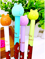 12 PCS Bear Black Ink Gel Pen