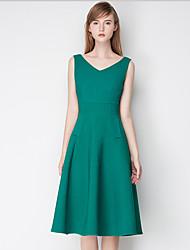 Trapèze Robe Femme Sortie simple,Couleur Pleine Col en V Au dessus du genou Sans Manches Rose / Vert Polyester Eté Taille HauteNon