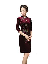 Lolita classica e tradizionale Gonna Maniche a 3/4 Corto Rosso bordeaux Lolita Dress Seta