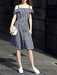 Women's Vintage Check A Line Dress,Boat Neck Knee-length Cotton