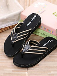 Men's Slippers & Flip-Flops Summer Flip Flops PVC Casual Flat Heel Bowknot Black Brown Others