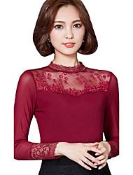 Feminino Blusa Para Noite Casual Tamanhos Grandes Simples Moda de Rua Outono Inverno,Sólido Poliéster Colarinho Chinês Manga Longa Grossa