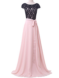 Formal Evening Dress A-line Scoop Sweep / Brush Train Chiffon / Lace with Appliques / Lace