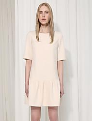 c + impressionner femmes sortant simples col rond dresssolid lâche au-dessus de la longueur du genou en coton à manches beige
