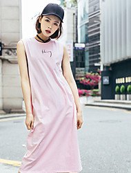 LIANGSANSHI  Women's Casual/Daily Simple Loose Dress,Solid Round Neck Midi Sleeveless Pink Cotton Summer