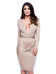 Women's Autumn Long Sleeve Bodycon Deep V Neck Middle Dress