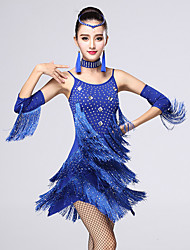 Latin Dance Dresses Women's Performance Chinlon / Milk Fiber Crystals/Rhinestones / Tassel(s) 4 Pieces Outfit