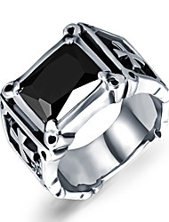 Punk Rock Black Agate Cross Mens Ring 316L Stainless Steel Jewelry Christmas Gifts