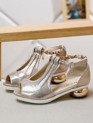 Mädchen-Sandalen-Lässig-Kunstleder-Blockabsatz-Vorne offener Schuh / Sandalen-Gold