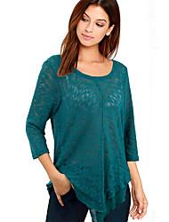 Damen Solide Sexy / Einfach Lässig/Alltäglich T-shirt,Rundhalsausschnitt Frühling / Herbst ¾-Arm Blau / Grau / Lila Polyester Mittel