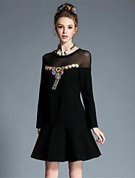 AUFOLI Plus Size Women Sexy See Through Ethnic Bead Patchwork Falbala Long Sleeve Dress