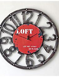 Modern/Zeitgenössisch Leger Familie Wanduhr,Kreisförmig Metall 40*40*5 Innen/Aussen Drinnen Draußen Uhr
